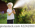 Funny little boy playing with garden hose in sunny backyard 42242060