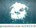 3D illustration wall of ice with a hole in the center of shatters into small pieces. Place for your 42242318