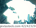 3D illustration wall of ice with a hole in the center of shatters into small pieces. Place for your 42242329