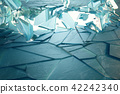 3D illustration broken ice wall with hole in centre. Place for your banner, advertisement. 42242340