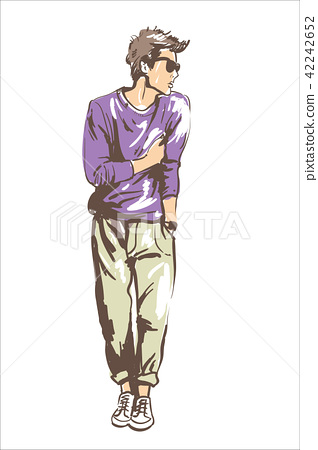 7144e622 Fashion man vector illustration. Fashion man in sun glasses modern hair  style and violet sweater