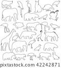 Silhouette elephant tiger bear giraffe flamingo 42242871