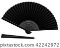 Black Hand Fan Open Closed 42242972