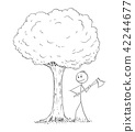 Cartoon of Man or Lumberjack With Axe Chopping Down the Tree 42244677