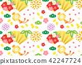 japanese pattern, japanese style, folding fan 42247724
