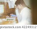 少女 学习 备考的学生 42249312
