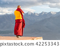 Indian tibetan monk standing in front of mountains 42253343