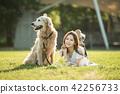 여성, 여자, 책, 공원,개, 애완동물, 골든 리트리버 42256733