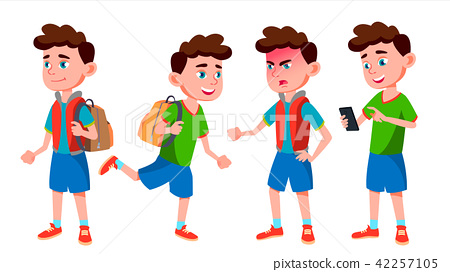 Boy Schoolboy Kid Poses Set Vector. Primary School Child. Cheerful Pupil. Friends. Life, Emotional 42257105