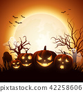 Cartoon Halloween pumpkins with white ghost 42258606