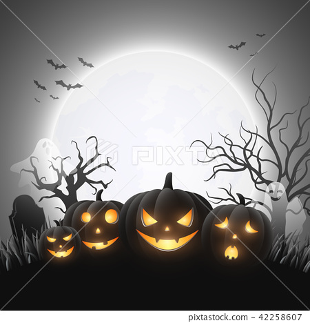 Cartoon Halloween pumpkins with white ghost 42258607