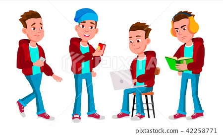 Boy Schoolboy Kid Poses Set Vector. High School Child. Child Pupil. Subject, Clever, Studying. For 42258771