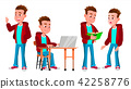 Boy Schoolboy Kid Poses Set Vector. High School Child. Secondary Education. Educational, Auditorium 42258776