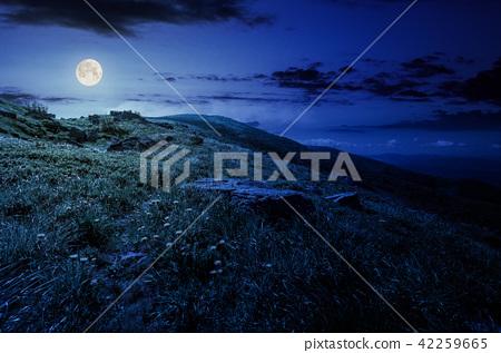 rocks on grassy hillside of the mountain at night 42259665