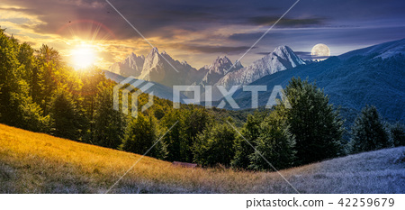 day and night composite of mountainous landscape 42259679
