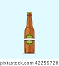 Attractive beer bottle on a blue background 42259726