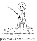Cartoon of Man or Fisherman Fishing on the River or Lake Shore 42260745