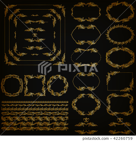 Set of gold decorative hand-drawn floral elements 42260759