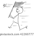 Cartoon of Man With Net Catching a Butterfly 42260777