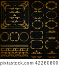 Set of gold decorative hand-drawn floral elements 42260800