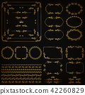 Set of gold decorative hand-drawn floral elements 42260829