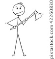Cartoon of Man or Lumberjack With Axe 42260830
