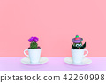 Small cactus in a flowerpot on a trendy background. 42260998