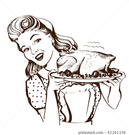 Retro smiling housewife cooks roasted turkey 42261336