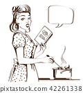 Retro young woman cooking soup in her kitchen 42261338