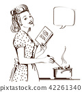 Retro young woman cooking soup in her kitchen 42261340