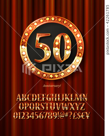 Golden alphabet with show lamps isolated 42261785