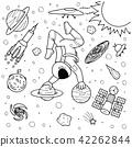 Funny astronaut doing yoga  42262844