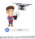 Flat Cartoon Character with Drone Camera 42264999