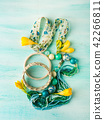 Girl's accessories on pastel background 42266811