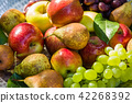 Fruit in a bowl - apples, pears and grapes 42268392