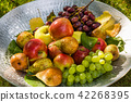 Fruit in a bowl - apples, pears and grapes 42268395