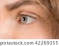 The close up eye on face of young beautiful caucasian girl 42269355