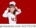 Portrait of cheerful little girl in big glasses  42270138