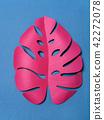 Paper leaf of pink color. 42272078