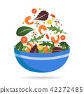 Bowl of fresh mix of salad leaves, vegetables and shrimp. Arugula, tomatoes, paprika, peppers and 42272485