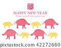 2019年年度公猪的新年卡片模板 42272660