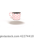 Black coffee white cup with red arrow pattern 42274410
