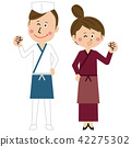 man and woman, white background, chef 42275302