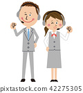 man and woman, white background, business 42275305