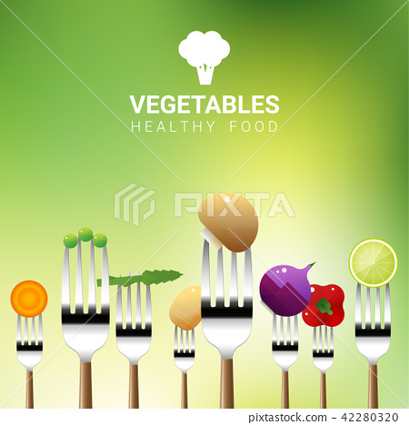 Vegetables on forks isolated on natural background 42280320