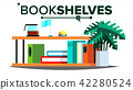 Storage Shelves Vector. Document, Book. Furniture. Office, Home Interior. Paperwork. Flat Isolated 42280524