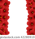 Red Hibiscus - Rose of Sharon Border 42280910