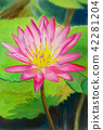 Painting, lotus, flower 42281204