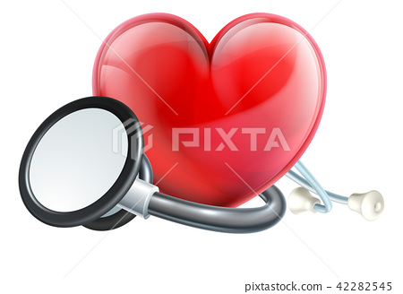 Heart Icon and Stethoscope 42282545