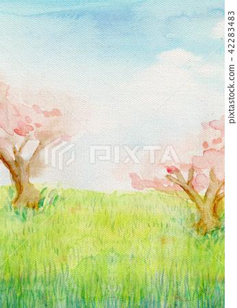 水彩插圖自然景觀櫻花沒有奧卡 42283483